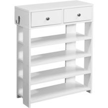 Wohnling Design Schuhregal 60x79x24cm Flurregal Weiß Regal mit zwei Schubladen Hohes Standregal mit 4 Fächern