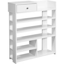 Wohnling Design Schuhregal 75 x 92,5 x 24 cm Flurregal Weiß | Hohes Standregal mit 7 Fächern | Regal mit Schublade