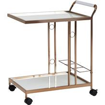 Wohnling Design Servierwagen 67x80x45 cm, weiß/gold, mit Glasplatte aus Milchglas