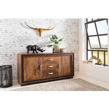 Wohnling Design Sideboard KARAN 160x44x80 cm Massivholz mit Kunstleder, mit Schubladen und Türen