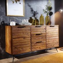 Wohnling Design Sideboard NISHAN 160 x 40 x 88 cm Sheesham Massiv Holz, Kommode mit Türen & Schubladen