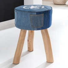 Wohnling Design Sitzhocker DENIM Stoff Blau 35 x 35 x 50 cm | Fußhocker Stoffhocker | Hocker mit Stauraum Beistellhocker