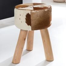 Wohnling Design Sitzhocker Ziegenfell Echtleder Braun / Weiß 35 x 35 x 45 cm | Fußhocker Lederhocker | Hocker Fellhocker Beistellhocker