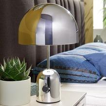 Wohnling Design Tischleuchte OHRI Metallschirm-Lampe dimmbar Nachttischlampe Silber, Metalllampe E27 bis 60W, Leselampe 1-flammig Ø 28 cm, Tischlampe hochglanz Silber