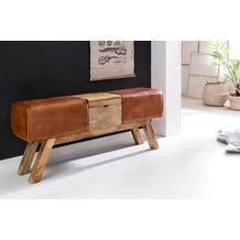 Wohnling Design Turnbock Sitzbank Braun Aufbewahrungsfach 120x29x53cm, Turnhocker Bank Echtleder Klappfach