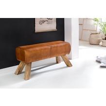Wohnling Design Turnbock Sitzbank 90 x 30 x 43 cm, Echtleder Braun, Garderobenbank