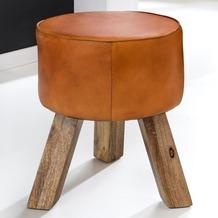 Wohnling Design Turnbock Sitzhocker 37 x 37 x 45 cm, Echtleder Braun, Turnhocker mit Holz-Beinen