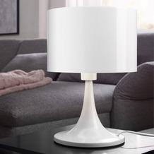 Wohnling Desing Tischleuchte TILA Metallschirm-Lampe Nachttischlampe hochglanz, Tischlampe weiß Ø 25cm, Metalllampe E27 bis 60W, Leselampe 1-flammig IP20 Weiß