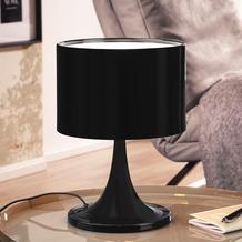 Wohnling Desing Tischleuchte TILA Metallschirm-Lampe Nachttischlampe hochglanz, Tischlampe schwarz Ø 25cm, Metalllampe E27 bis 60W, Leselampe 1-flammig IP20 Schwarz
