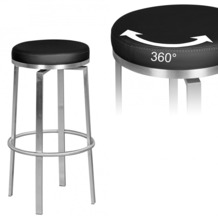 Wohnling Design Barstuhl Durable M8, moderner Barhocker Edelstahl schwarz, drehbar