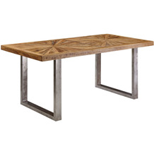 Wohnling Esstisch Mango Massivholz Esszimmertisch 200x76,5x100 cm, Küchentisch Loft Natur, Holztisch Massiv mit Metallgestell, Industrial Tisch