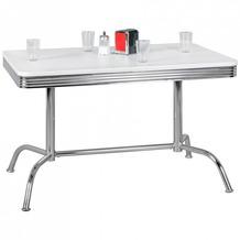 Wohnling Esstisch ELVIS 120 cm American Diner MDF Holz & Alu Esszimmertisch Design Küchentisch Retro USA Bistrotisch