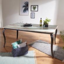 Wohnling Esstisch LINA Massivholz Shabby Chic 180x77x90 cm Esszimmertisch modern, Design Küchentisch massiv groß, Massivholztisch Esszimmer, Vintage Tisch Naturholz rechteckig Weiß