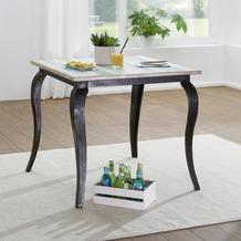 Wohnling Esstisch LINA Massivholz Shabby Chic 80x77x80 cm Esszimmertisch modern, Design Küchentisch massiv klein, Massivholztisch Esszimmer, Vintage Tisch Naturholz quadratisch Weiß