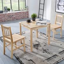Wohnling Esszimmer-Set EMIL 70x73x70 cm Essgruppe 1 Tisch 2 Stühle, Kiefer-Holz, im Landhaus-Stil