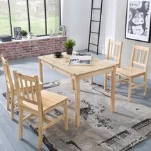 Wohnling Esszimmer-Set EMIL 5 teilig Kiefer-Holz Landhaus-Stil 108 x 73 x 65 cm, Natur Essgruppe 1 Tisch 4 Stühle, Tischgruppe Esstischset 4 Personen, Esszimmergarnitur massiv Natur