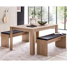 Wohnling Esszimmer-Set WL5.927 Sonoma Eiche Esstisch mit 2 Bänken Holz Modern