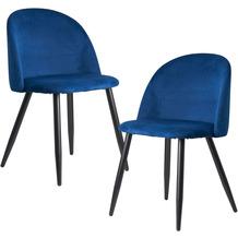 Wohnling Esszimmerstuhl 2er Set Blau Samt Gepolstert, Küchenstuhl mit Schwarzen Beinen, Schalenstuhl Skandinavisches Design, Polsterstuhl mit Samtbezug