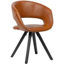 Wohnling Esszimmerstuhl Kunstleder Braun mit schwarzen Beinen Stuhl Retro, Küchenstuhl mit Lehne, Polsterstuhl Maximalbelastbarkeit 110 kg