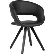 Wohnling Esszimmerstuhl Kunstleder Schwarz mit schwarzen Beinen Stuhl Retro, Küchenstuhl mit Lehne, Polsterstuhl Maximalbelastbarkeit 110 kg