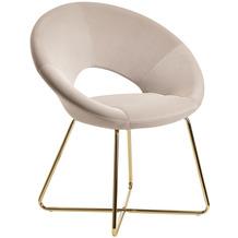 Wohnling Esszimmerstuhl Samt Beige Küchenstuhl mit goldenen Beinen, Schalenstuhl Stoff / Metall, Design Polsterstuhl, Stuhl Esszimmer Gepolstert