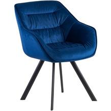Wohnling Esszimmerstuhl Samt Blau Gepolstert, Küchenstuhl mit Schwarzen Beinen, Moderner Schalenstuhl mit Armlehnen, Design Polsterstuhl Stoffbezug