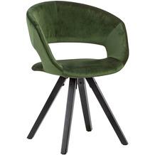 Wohnling Esszimmerstuhl Samt Grün mit schwarze Beine Modern, Küchenstuhl mit Lehne, Stuhl mit Holzfüßen, Polsterstuhl Maximalbelastbarkeit 110 kg