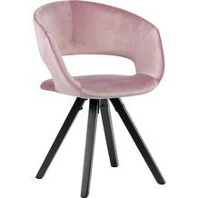 Wohnling Esszimmerstuhl Samt Rosa mit schwarze Beine Modern, Küchenstuhl mit Lehne, Stuhl mit Holzfüßen, Polsterstuhl Maximalbelastbarkeit 110 kg