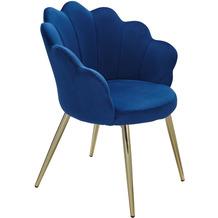 Wohnling Esszimmerstuhl Tulpe Samt Blau Gepolstert, Küchenstuhl mit Goldfarbenen Beinen, Schalenstuhl Skandinavisches Design, Polsterstuhl mit Stoffbezug