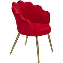 Wohnling Esszimmerstuhl Tulpe Samt Rot Gepolstert, Küchenstuhl mit Goldfarbenen Beinen, Schalenstuhl Skandinavisches Design, Polsterstuhl mit Stoffbezug