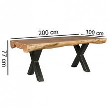 Wohnling Esszimmertisch 200 x 100 x 77 cm Akazie Landhaus-Stil Voll-Holz, Design Esstisch rechteckig