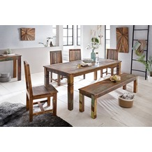 Wohnling Esszimmertisch KALKUTTA 120 x 70 x 76 cm Mango Shabby Chic Massiv-Holz Design Landhaus Esstisch Bootsholz Tisch für Esszimmer rechteckig Küchentisch 4 - 6 Personen