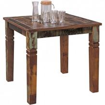 Wohnling Esszimmertisch KALKUTTA 80 x 80 x 76 cm Mango Shabby Chic Massiv-Holz, Design Landhaus Esstisch Bootsholz, Tisch für Esszimmer rechteckig, Küchentisch 4 Personen