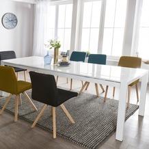 Wohnling Esszimmertisch GLORY 140 x 76 x 90 cm ausziehbar hochglanz weiß Metall Holz, Küchentisch für 6 - 8 Personen, Design Esstisch rechteckig um 2 x 45 cm erweiterbar