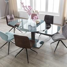 Wohnling Esszimmertisch NOBLE 120 - 180 cm ausziehbar dunkelgrau Metall / Glas, Tisch für Esszimmer rechteckig, Küchentisch 4 - 8 Personen, Design Esstisch