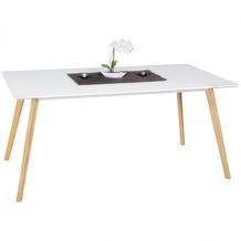 Wohnling Esszimmertisch SCANIO 160 x 76 x 90 cm MDF Holz Esstisch mit Tischplatte in weiß Design Küchentisch Retro Holztisch