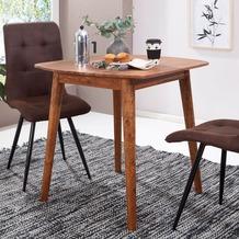 Wohnling Esszimmertisch WL5.571 Sheesham 80x78x80 cm Massivholz Tisch, Designer Küchentisch Holz, Massivher Holztisch Rustikal, Speisetisch Massives Echt-Holz Modern braun