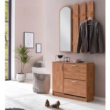 Wohnling Garderobe WL5.820 90 x 172 x 24 cm Holz, Design Schuhkipper mit Garderobe, Wandspiegel Dielenmöbel Weiß, Schuhschrank mit Garderobenspiegel Modern, Wandgarderobe mit Spiegel buche