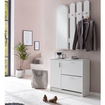 Wohnling Garderobe WL5.821 90 x 172 x 24 cm Holz, Design Schuhkipper mit Garderobe, Wandspiegel Dielenmöbel Weiß, Schuhschrank mit Garderobenspiegel Modern, Wandgarderobe mit Spiegel weiß