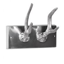 Wohnling Garderobenhaken 2er Hirschhörner aus Aluminium Hörner Farbe Silber