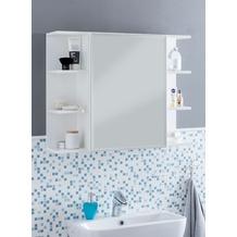 Wohnling Hängeschrank WL5.754 Weiß 80x64,5x20cm Spanplatte Spiegelschrank Modern, Design Badregal Freischwebend, Schränkchen mit Spiegel, Badezimmerschrank Holz Hängeschrank mit Badspiegel weiß