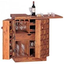 Wohnling Hausbar ausklappbar Massivholz Sheesham, Vitrine im Landhausstil für Flaschen und Gläser