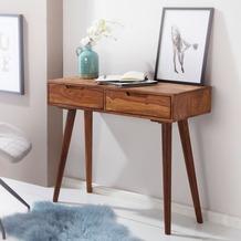 Wohnling Konsolentisch WL5.577 90x76x36cm Sheesham Massivholz mit Schubladen, Design Holz Anrichte, braun
