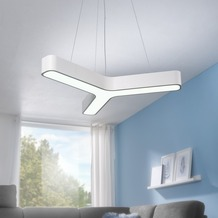 Wohnling LED-Pendelleuchte Y-FORM Matt weiß Metall EEK A+ Büro-Deckenlampe 36 Watt 80 x 107 x 80 cm, Design Arbeitsplatz Hängelampe 3060 Lumen kaltweiß ohne Schirm, Office Pendellampe IP20 Weiß