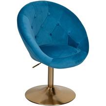 Wohnling Loungesessel Samt Blau / Gold Design Drehstuhl, Clubsessel Polsterstuhl mit Rückenlehne, Drehsessel Cocktailsessel Lounge, Sessel mit Stoffbezug