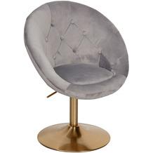 Wohnling Loungesessel Samt Grau / Gold Design Drehstuhl, Clubsessel Polsterstuhl mit Rückenlehne, Drehsessel Cocktailsessel Lounge, Sessel mit Stoffbezug
