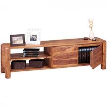 Wohnling Lowboard Massivholz Sheesham Kommode 140 cm TV-Board Ablage-Fächer Landhaus-Stil 40 cm TV-Möbel