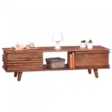 Wohnling Lowboard Massivholz Sheesham Kommode 145 cm TV-Board Ablage-Fach Landhaus-Stil Unterschrank 41 cm TV-Möbel