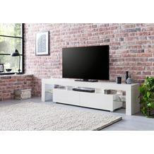 Wohnling Lowboard WL5.718 189x35x38 cm Weiß Hochglanz Holz HiFi Regal, Design Fernsehschrank Kommode Modern, TV Unterschrank Wohnzimmer, TV Board mit Schublade & LED weiß