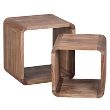 Wohnling Massivholz Akazie Satztisch Beistelltisch 2er Set Cubes Würfelregal